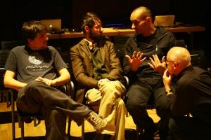 from left sound artist Pablo Sanz | multimedia artist Konrad Korabiewski | multimedia artist Thomas Köner | director and media artist Götz Naleppa